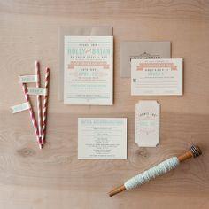 Offbeat Wedding Invitation coral and Aqua by JenSimpsonDesign