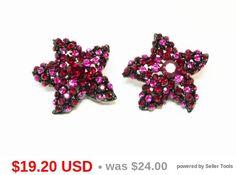 Vintage earrings...pink rhinestones on Japanned black ...clipon