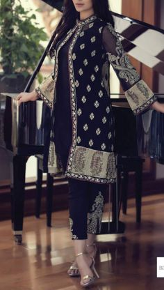 Buy Black Embroidered Chinese Chiffon Dress by Maria B. Chiffon Eid Collection.