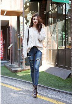 Banding Patch Skinny   Korean Fashion