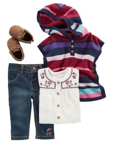 This oh-so cute embroidered tunic & denim pant set pairs perfectly with moccasin ankle boots. Add this striped poncho for a layered look!