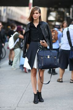 Whether you're uptown or downtown, a leather jacket is never out of place. It gives your outfit a certain edge that sets you apart but also keeps you on-trend with fellow New Yorkers.   - HarpersBAZAAR.com
