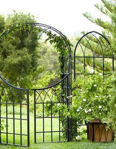Way out in back covered entirely with flowring climbing vines... trellis & arch collection  smith & hawken