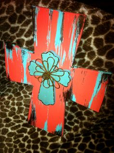 "10x13"" hand painted cross (turquoise, dark coral, purple) with small turquoise/wire cross layered."