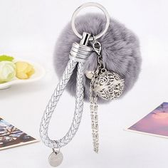 Artificial Leather Rope Fuzzy Ball Keychain ($4.79) ❤ liked on Polyvore featuring accessories, leather key chain and fob key chain