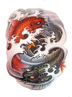 Top quality high resolution color design, with… Asian Tattoos, Fish Tattoos, Cool Tattoos, Carpe Koi Japonaise, Koi Tattoo Design, Koi Art, Pisces Tattoos, Fu Dog, Geniale Tattoos