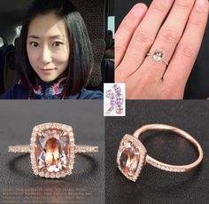 Cushion Halo Diamonds Oval Cut 6x8mm Morganite 14K Rose Gold Wedding Ring #LOGR #SolitairewithAccents