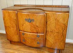Antique Bar Pop Open Liquor Wine Drinks Cabinet Walnut Mirrors Art Deco | eBay