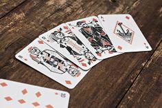 Design Kartenspiel Farbe Karo, maritime Illustrationen, Design. Suite of Diamonds