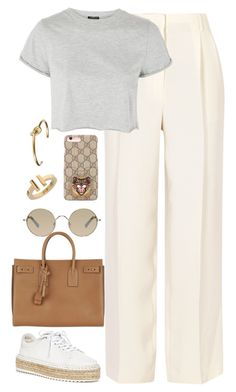 """Untitled #4295"" by magsmccray ❤ liked on Polyvore featuring The Row, Topshop, Gucci, Tiffany & Co., CÉLINE, Tura, Yves Saint Laurent and rag & bone"