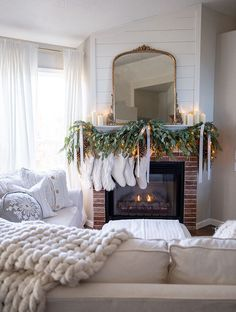 A traditional red and green Christmas family room with classic metallic accents, decorated in an elegant and cozy way. I usually decorate our home for the holidays with red accents, but this year I really wanted to pull in the green along with the red for Christmas Fireplace, Christmas Mantels, Cozy Christmas, Green Christmas, Family Christmas, Christmas Decorations, Holiday Decor, Cottage Christmas, Christmas 2019