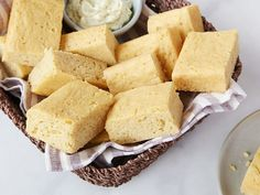 Melissa's Brunch Cornbread : Best served with Melissa d'Arabian's special Maple Lime Butter, this cornbread recipe stays moist thanks to the applesauce in the batter.