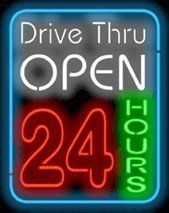 """Drive - Thru Open 24 Hours Neon Sign by Open Neon Signs. $339.00. Neon Attracts Immediate Attention!. Mounted on a Black Backing for Maximum Visibility!. Brand New, Quality Neon Sign - Delivered to Your Door in a Few Days!. 24"""" wide x 30"""" high. This Neon Sign features White, Red & Green Letters with a Blue Outer Border and measures 24 wide x 30 high. Priced lower than ever, this sign can be delivered to you in just a few days!"""