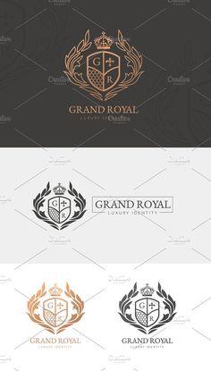 Grand Royal Luxury Logo by Vectorwins Premium Shop Business Brochure, Business Card Logo, Royal Logo, Luxury Logo Design, Crest Logo, School Logo, Pencil Illustration, Logo Design Inspiration, Logo Templates