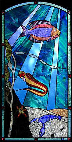 sea life window - Daniel Maher Stained Glass. Idea to do vintage style octopus, corral, or other see life glass