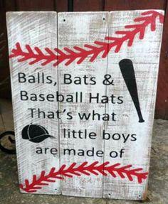 Balls Bats Baseball Hats Nursery Sign Boys Pallet Rustic Bedroom Sports
