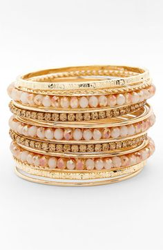 Cara Accessories Mixed Media Bangles (Set of 16) available at #Nordstrom  A steal at $48