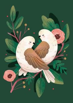 bird illustration Showcase and discover creative work on the worlds leading online platform for creative industries. Art And Illustration, Botanical Illustration, Christmas Illustration Design, Pattern Illustrations, Illustration Animals, Illustrations Posters, Art Watercolor, Turtle Dove, Guache
