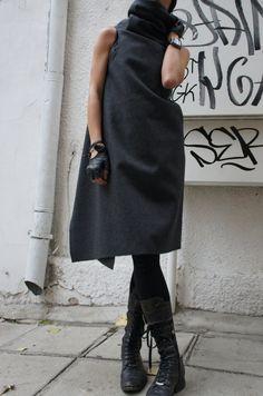 Items similar to Soft Grey High Quality Kasha Fabric Sleeveless Coat / Extravagant Vest on Etsy Grunge Fashion, Boho Fashion, Girl Fashion, Womens Fashion, Fashion Tips, Fashion Design, Fashion Websites, Fashion Trends, 2000s Fashion