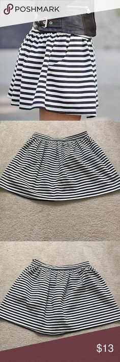 """Striped Circle Skirt Cute Black and white striped circle skirt from Forever 21, has a side zipper, measures 17"""" in length, lying flat waist measures 14"""", worn 2x, in great condition. Forever 21 Skirts Circle & Skater"""