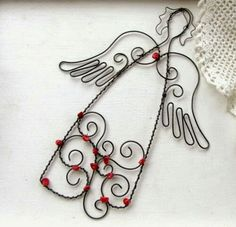 Diy Angels, Beaded Angels, Wire Wrapped Jewelry, Wire Jewelry, Jewelry Art, Wire Crafts, Metal Crafts, Christmas Angels, Christmas Crafts