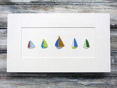Original Pebble Art,Sea Glass Art,Sailboats,Nautical Decor,Beach Decor,Simple Decor,Unique Gift,OOAK,Art by Maine Artist M. McGuinness!
