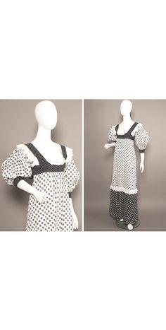 GINA FRATINI 70s Mono Florals Boho Lacey Maxi Dress UK 6