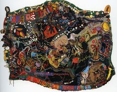 Aminah Robinson, Sapelo Island, Hog Hammock Community Quilt, 1972 to 1986 Wool, buttons, beads, music box and found objects 49 in x 64 in