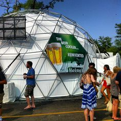 dome-shaped tent meant to represent a reinvented beer cooler