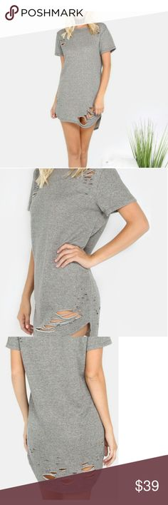 Gray Round Neck short sleeve shift dress So cute I have sizes #Small #Medium & #large  Slight stretch. I would say if you're 5'5 or less this dress is a midi. You could also wear with leggings. I wear mine as a dress with chunky strappy heels and a choker. Hot w/ #fishnets also   Size chart is last pic above. Any questions please ask as all these #NWT items I have been posting are for my new online boutique & hopefully one day actual store.   Free gift with purchase   Tags  #freepeople #asos…