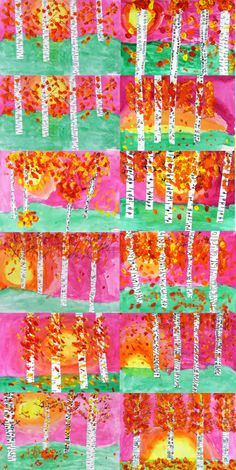 3rd grade autumn birch landscapes- I like the bright colors instead of the always blue sky