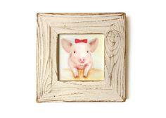 Shabby Chic Nursery Decor, Framed Pig Wall Art Print
