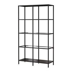Black-Bookcase-Glass-with-Metal-Frame-Shelving-Unit-Ikea-Vittsjo-Display-Rack