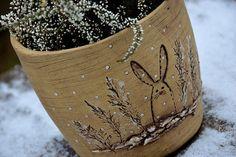 Obal-zima na vesnici II.-zajíc-ihned Planter Pots, Lavender, Clay, Clays, Modeling Dough