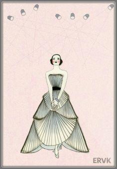 Art deco, art deco illustration, art deco design, fashion sketches, v Art Nouveau, Mode Vintage, Vintage Art, Vintage Dior, Belle Epoque, Art Deco Fashion, Fashion Prints, Moda Art Deco, Fashion Illustration Dresses