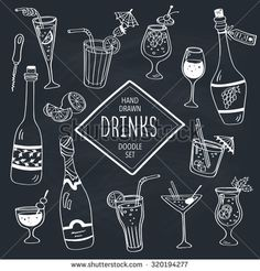 Drinks doodle set. Hand drawn cocktails icons on chalkboard. Doodle beverages collection. Bottles, glass, cocktails. Water, wine and juice.