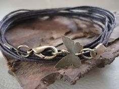 MARIPOSA in dark brown wrap bracelet & butterfly by AsaiBolivien, $7.90