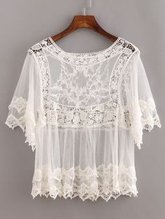 Blusa encaje hueco -blanco-Spanish SheIn(Sheinside)