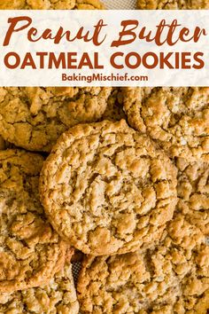 Fantastic chewy, peanut-buttery Peanut Butter Oatmeal Cookies that everyone will. Fantastic chewy, peanut-buttery Peanut Butter Oatmeal Cookies that everyone will love, plus instructions for freezin Chewy Peanut Butter Cookies, Oat Cookies, Peanut Butter Recipes, Healthy Cookies, Cookies Et Biscuits, Chocolate Chip Cookies, Peanut Butter Oatmeal Bars, Recipe For Healthy Peanut Butter Cookies, Cookie Recipe With Oats