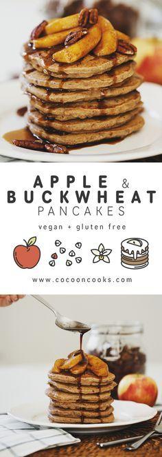 Healthy Vegan Apple Buckwheat Pancakes with Coconut Caramel Apples. #recipe #blog #healthy #easy