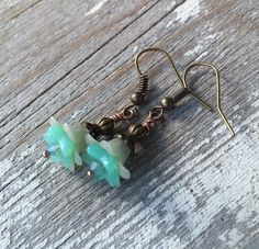 Mint green lucite flower earring small flower earring rustic wedding jewelry for brides bohemian wedding earrings dangle gift for bridesmaid
