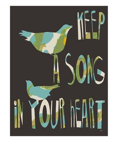 Bird 'Keep a Song in Your Heart' Gallery-Wrapped Canvas
