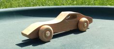 All natural unfinished wooden toy car Cherry 1970s Chevrolet