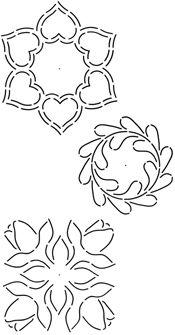 Quilting Stencil 5 '' x 6 '' Hearts / Perie / Tulipány Blocks (Continuous linka Design)