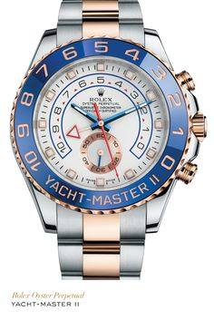 Rolex Yacht-Master II in 904L steel and Everose gold with a blue Cerachrom Ring Command bezel, white dial and Oyster bracelet. #Yachting #RolexOfficial   For more information regarding this timepiece, please be sure to visit http://www.cdpeacock.com/.