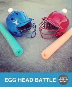 Tape a raw egg on top of a helmet, and have students use pool noodles to try and smash their opponent's egg. Youth Ministry Ideas and Games.