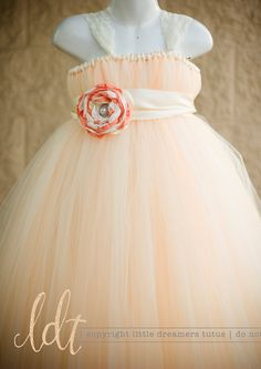Ivory/Peach Flower Girl Tutu Dress with by littledreamersinc