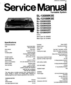 Technics SL-1200 mk5 , SL-1210 mk5 , Service Manual  * PDF format suitable for all Windows DOWNLOAD