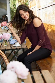 LC Lauren Conrad Cold-Shoulder Eyelet Sweater | Available at Kohl's and on Kohls.com