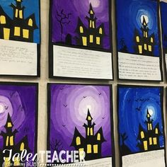 Halloween Art Project and Writing Piece Haunted house writing and art project. Perfect classroom activity for the fall months. Such a fun way to explore creative writing with your elementary school students! (Halloween Crafts For Graders) Halloween Kunst, Halloween Art Projects, Fall Art Projects, Classroom Art Projects, School Art Projects, Art Classroom, Halloween Halloween, House Projects, Project Projects